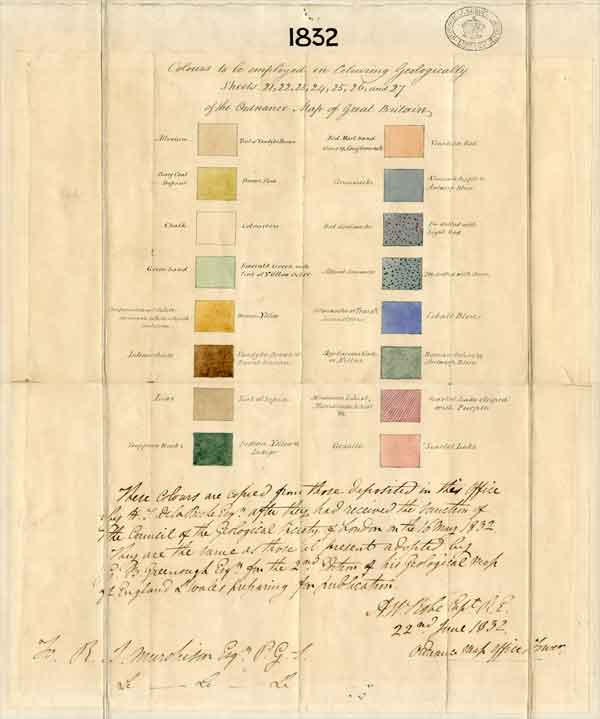 'Colours to be employed in colouring geologically sheets 21, 22, 23, 24, 25 and 27 of the Ordnance Map of Great Britain', dated 22 June 1832.