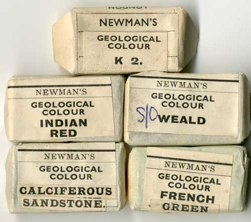 A selection of watercolour cakes supplied by the firm of James Newman, some of which were specially formulated for the use of the Geological Survey. These cakes were still being supplied to the Survey as late as 1959 for colouring unpublished Library copies of six-inch geological maps and field slips.