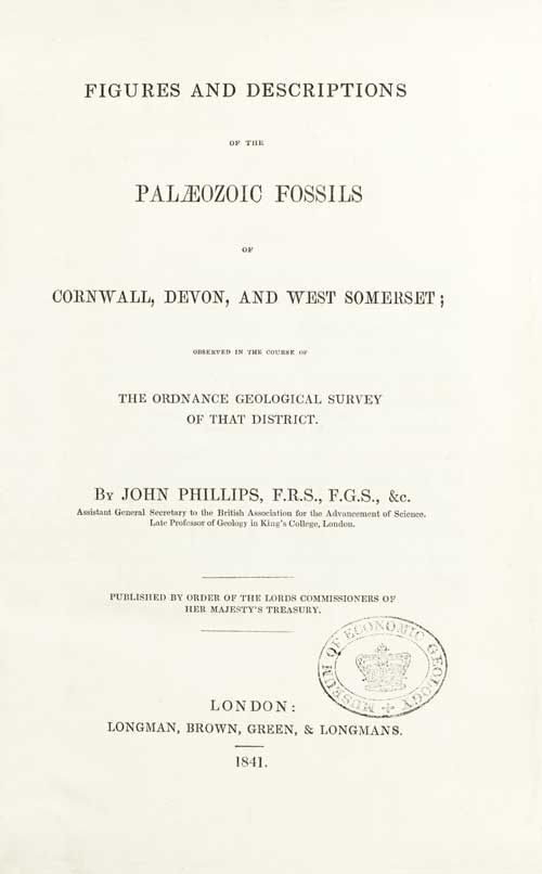 Title-page and typical plate from the Geological Survey's second publication. John Phillips, one of the foremost palaeontologists of the day, was employed by De la Beche to analyse fossil evidence in support of the Survey's geological interpretations. This act established an holistic approach to fossil collecting, leading to the creation of a national collection. In this work Phillips also took the opportunity to formalise for the first time the three great life eras: <em>Palaeozoic</em>, <em>Mesozoic</em> and <em>Cainozoic</em> (this last now usually corrupted to <em>Cenozoic</em>).
