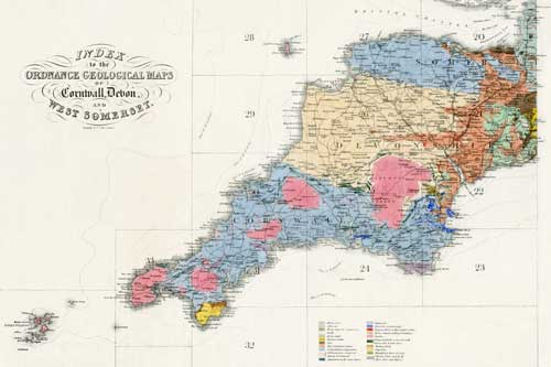 Index map from the Geological Survey's first publication <em>Report on the geology of Cornwall, Devon, and West Somerset</em>, issued February 1839.